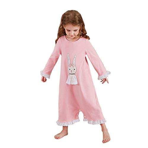Elonglin Mädchen Schlafoveralls mit Druckknopf Nachthemd Pyjamas Baumwolle Nachtwäsche c 158-164