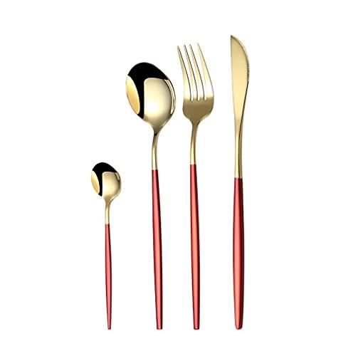 OUDEING Cutlery Set 24 Piezas de 304 Cuchillo de bistec de Acero Inoxidable y Tenedor, bellamente Pulido-Red 24pcs