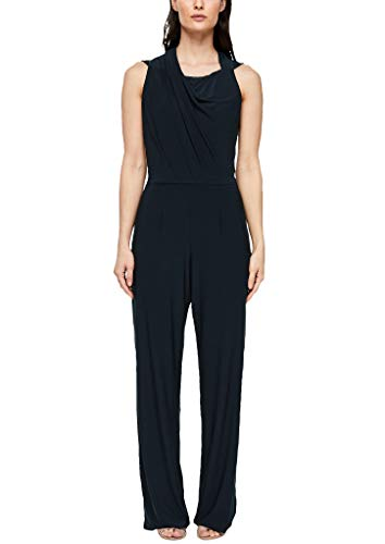 s.Oliver BLACK LABEL Damen Jersey-Jumpsuit mit Spitze Navy 40