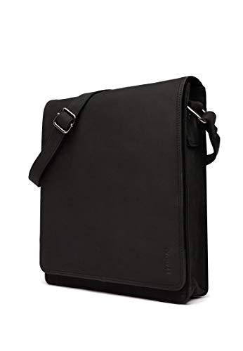 LEABAGS London Umhängetasche Schultertasche 13 Zoll Laptops aus Leder im Vintage Look, Large, Schwarz