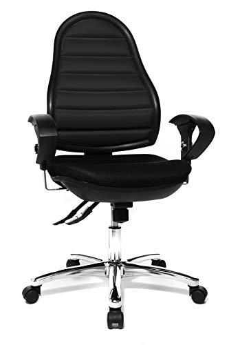 Topstar Bürostuhl Flex Point SY Deluxe, Bezug schwarz, mit höhenverstellbaren Armlehnen und Teppichbodenrollen