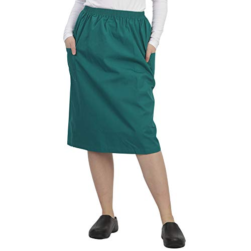 MAZEL UNIFORMS Womens A-LINE Scrub Skirt with Cargo Pockets and Elastic Waist Size X Large Hunter Green