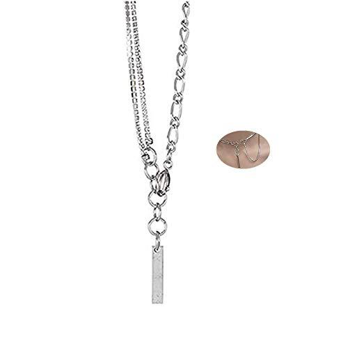 JinYu - Gargantilla de cadena de plata con estrás delicado, multicapa, collar de cadena con barra vertical, colgante largo, gargantillas para su sexy colgante