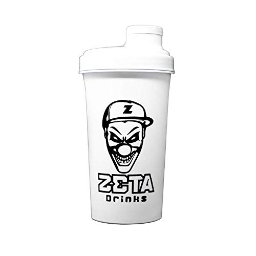 ZETA DRINKS Shaker Classic Botella de agua mezcladora de bebidas energéticas y de proteínas Con tapa antigoteo 700ml (Blanco)