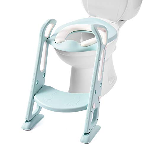 Potty Training Seat with Step Stool Ladder,Viugreum Adjustable Potty Seat for Kids Boys Girls Toddlers- Safe Steady Comfortable Potty Seat with Ladder Two-Gear Pedal Anti-Slip Pads Lake Green