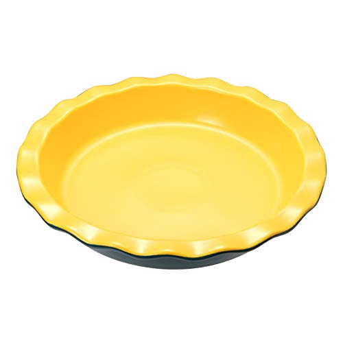 Keldoner Ceramic Nonstick Pie Pan for Baking - Lead and Cadmium Free Baking Dish for Dinner, 10.6 Inches Round Pie Plate with Wave Edge for Apple Pie, Pumpkin Pie, Pecan Pie, Pot Pies (Blue&Yellow)