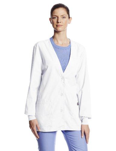 Cherokee Women's Workwear Scrubs Cardigan Warm-up Jacket, White, Small