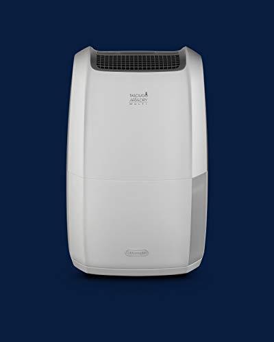 De'Longhi DDSX220 Deshumidificador Multifunción, 20 L/d, Filtro Polvo y Anti alérgenos, función Secado Ropa, Gas ecológico, Pantalla LED, Rejilla, 436 W, 44 Decibeles, Blanco y gris