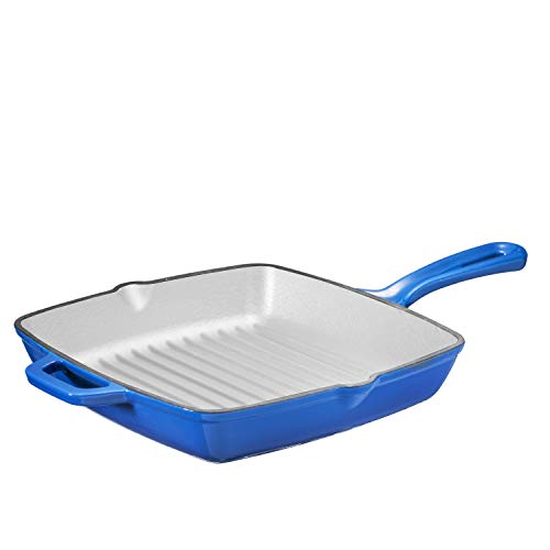 Enameled Cast Iron 10 Inch Square Cast Iron Grill Pan Skillet Grill Pan with Easy Grease Draining for Grilling Bacon, Steak, and Meats, Stove, Fire and Oven Safe, Cobalt Blue