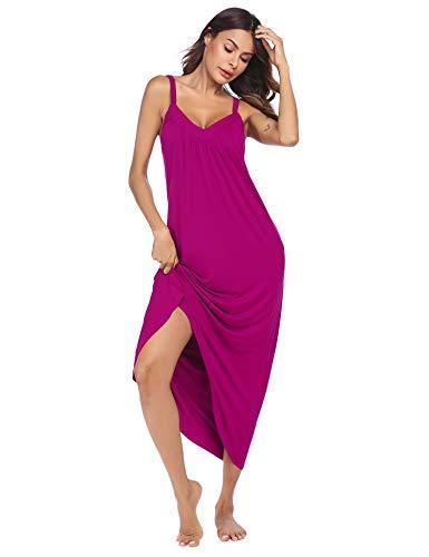 Ekouaer Womens Sleeveless Long Nightgown Summer Slip Night Dress Cotton Sleepshirt Chemise,Rose Red_6696,Large
