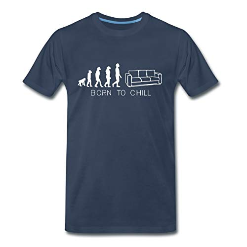 Born to chill, Sofa, kanapee, diwan, Liege, Couch,Bett, Evolution, T-Shirts Männer Premium T-Shirt, 3XL, Navy