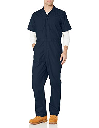 Amazon Essentials Stain & Wrinkle-Resistant Short-Sleeve Coverall Unterhose, Dark Navy, Small/32