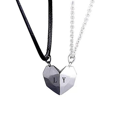 Collar magnético para parejas, 2 piezas, collar de corazón de piedra de los deseos, regalo de San Valentín para mujeres, hombres, carta personalizada, colgante de alma personalizado, collares a juego