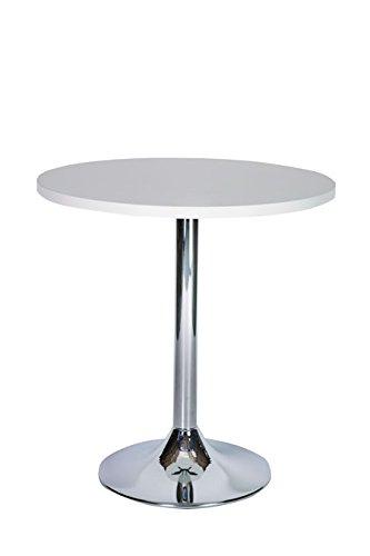 Netfurniture lonkt grote ronde tafel keuken en eettafel chroom 120cm Kleur: wit