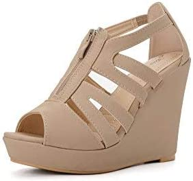 Ashley A LISA50 Strappy Open Toe Platform Wedges Nude 7.5