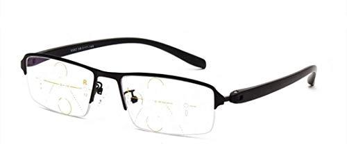 Gafas de lectura Zoom inteligente progresivo Multi-Focus gafas de lectura, marco TR90 Material Aleación Lupa, remoto y local de doble uso-Eyewear óptico de alta definición, multifocal progresiva diopt