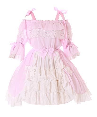 JL-665-2 - Vestido de gasa con volantes y lazo para disfraz de Lolita gótico, color rosa y blanco Rosa. M-L