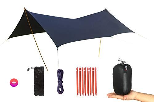 Desert Walker タープ 超轻便 15D両面シリコンオイル生地 多機能 多形態 日焼け止 め雨を防ぐ(防雨) ポータブル タープ 350cm * 300cm 3-5人用