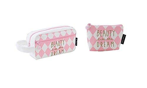 NOVAGO [2 Pack] Astuccio per matite, sacchetto di trucco multifunzione make-up +1 mini borsa da moneta offerto, collection Dreamy (Rosa - Beauty Dream)