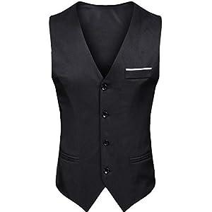 【パーフェクト人生】スーツ ベスト メンズ ジレベスト ビジネス フォーマル フィット 無地 きれいめ 春 夏 秋 冬 スリムフィット (Medium, ブラックB)
