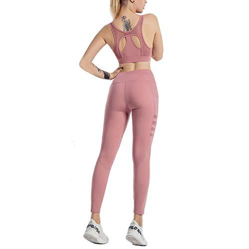 Traje De Fitness para Mujer, Conjunto De Leggings De Yoga Sin Costuras con Ventilación Sexy, Elasticidad De Cuatro Vías con Traje De Sujetador Deportivo, Apto para Fitnes(Size:Grande,Color:Rosado)