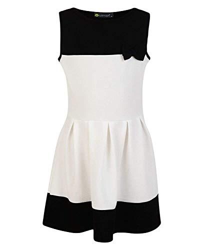 LOTMART Dziewczęca sukienka bez rękawów z kokardą, teksturowana, Biało-czarny, 5-6 Lata