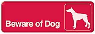 Hillman 848636 Beware of Dog Visual Impact Self Adhesive Sign, Red and White Plastic, 3x9 Inches 1-Sign
