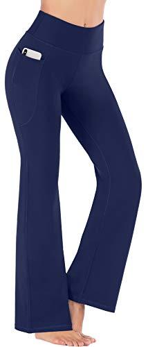 Heathyoga Women Bootcut High Waist Yoga Pants with Pockets, Darkblue, Medium