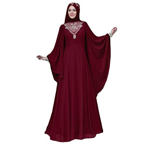 Vintage Abaya Batwing Sleeve Maxi Dress Muslim Women Party Evening Long Gown Jilbab Robe Wine Red Xl