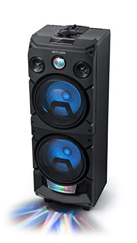Muse M-1935 DJ PA-Anlage 400 Watt, mit Bluetooth und Licht-Effekten (USB, AUX, Mikrofon-Eingang), schwarz