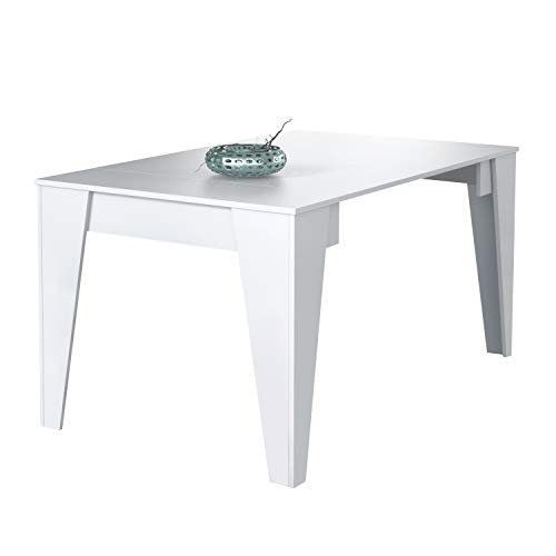 SelectionHome - Mesa TM 140 Consola de Comedor Extensible 3 Posiciones, Acabado en Color Blanco, Medidas: 53,6 a 146,6 cm (Largo) x 74 cm (Alto) x 90 cm (Fondo)
