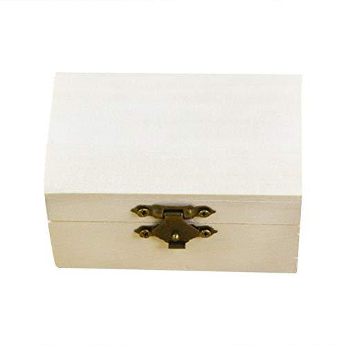 VOSAREA Caja de Madera Joyero Cofre del Tesoro Organizador de la Caja de Almacenamiento con Tapa y Cierre de Metal (Color de Madera)