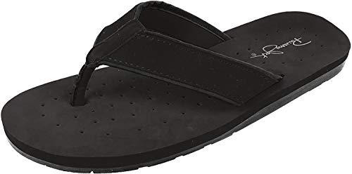 Panama Jack Mens Surfside Synthetic Suede Casual Flip Flop Sandal, Black, X-Large/Size 12-13