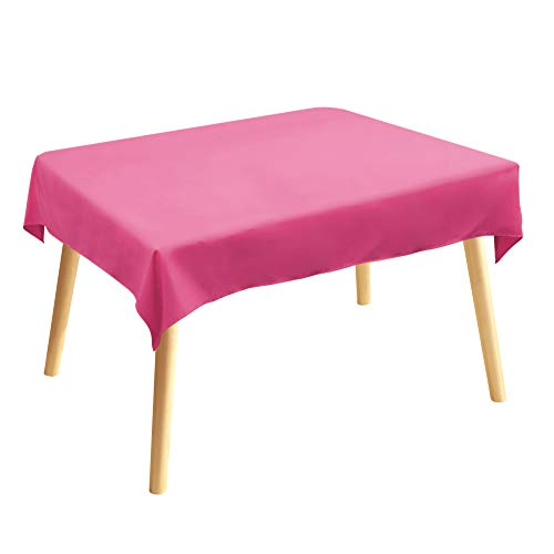 Tischdecke, Rechteckige Tischtuch, 120 × 140cm, Rosa, 100% Polyesterfaser, Einfarbig, Pflegeleicht Waschbar