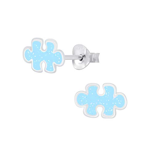 925 Sterling Silver Jigsaw Puzzle stud earrings 9x6mm women girls in various sparkly colours anti allergy hypoallergenic nickel free jewellery ladies sensitive ears (Aquamarine)
