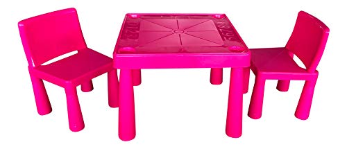 HomeStoreDirect Childrens Kids Plastic Garden Outdoor Or Indoor Table and 2 Chairs Set For Boys Or Girls (Pink)