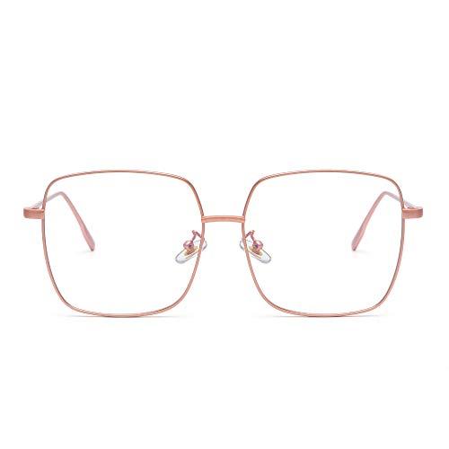 JM Moda Metal Gafas Ópticas Marco Cuadrado Anti Luz Azul Computadora Anteojos Protección Para Los Ojos Mujer Rosa ⭐