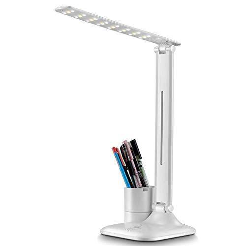 Skrivbordslampor LED ögonskydd för att skriva grundskolestudenter sovrum sängbord laddning plug-in sovsal med dubbla ändamål (färg: Silver, storlek: 15 x 14 x 29 cm)