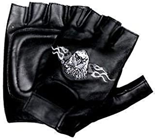 Xelement XG-7795 Mens Black Leather Padded Protective Racing Gloves with Glove Tech Technology Black Medium