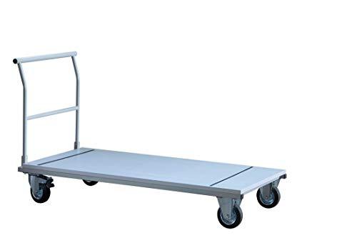 Transportwagen DR-Büro - Ladefläche 160x69 cm - Plattformwagen Belastung 400 kg - Gestell grau - 2 Lenkrollen mit Bremse - max. 8 Klapptische stapelbar