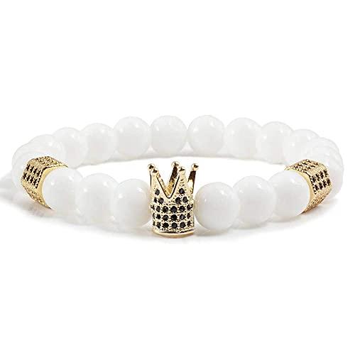 THj Pulsera, 8 mm, Porcelana Blanca Natural con Cuentas, Corona Blanca Dorada, Pulseras para Mujer, joyería, Reina, Moda, Encanto, Cuerda elástica, brazaletes, Regalos Femeninos