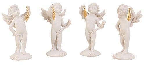 Lifestyle & More moderne sculptuur decoratief figuur engel wit met gouden veer in set van 4 hoogte 15 cm