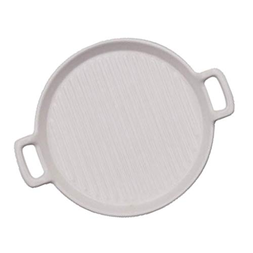Pizza Tray Bakplaat Pan Pizza Plaat Met Binaural Round Pizza Ovenschaal Keramische Oven For De Magnetron (Color : White, Size : 24 * 20cm)