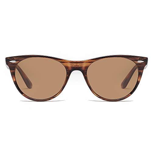 SOJOS Damen Sonnenbrille Klassisch Retro Polarisierte Sonnenbrille Vintage UV400 Brille CELEB SJ2076 mit Matt Brauner Holzstruktur Rahmen / Braune Linse