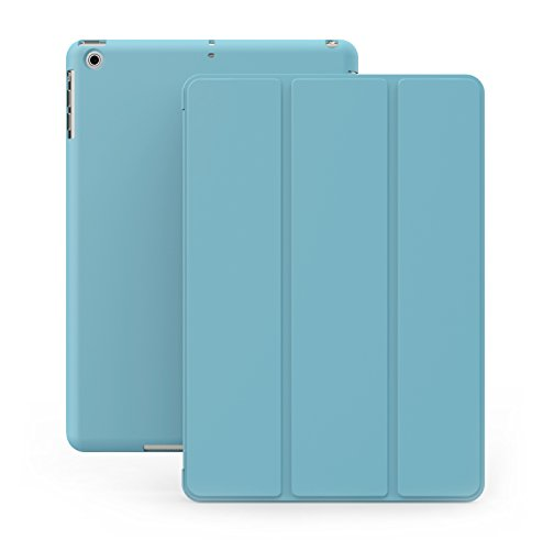iPad Mini 1 2 & 3 Case - DUAL Blue Cover with Rubberized back and Smart Feature for Apple iPad Mini 1st 2nd & 3rd Blue Wide Angle Mini