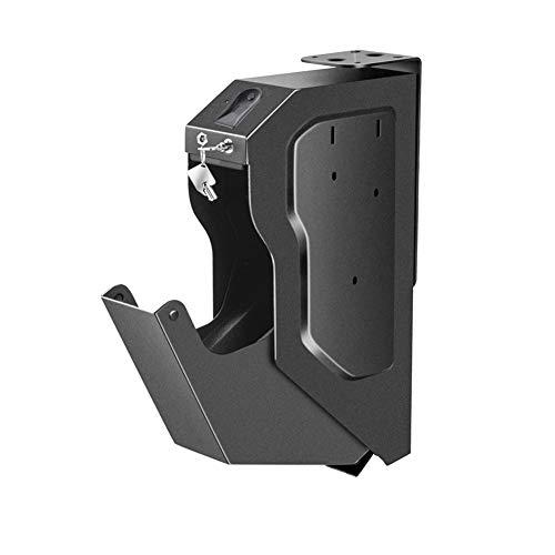 Gun Safes for Pistols, Handgun Safe Box Pistol Safe Quick-Access with Biometric Fingerprint Key Lock Gun Cabinets Mounted Firearm Safety Device- Black