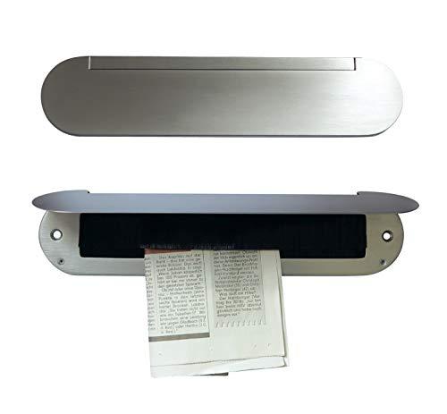 Innenklappe-mit Bürsteneinsatz-Messing poliert-brüniert-Chrom-Mattchrom-Briefeinwurf=345 x 80 mm-Briefklappe-Briefkasten-Briefschlitz (Messing Mattchrom (wie Edelstahl))