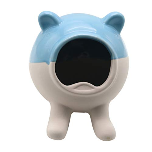 Balacoo Hamster Ceramic Hideout Small Animal Hideout Nest Bathtub Hamster Sleeping Bed for Chinchillas Hamster Mice Rat Supplies (Blue White)