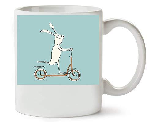 ANDRS Bunny Rabbit Scooter Illustration Klassische Teetasse Kaffeetasse