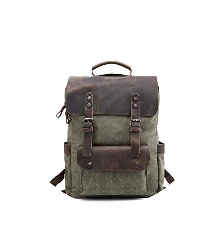 "Himora basic-multipurpose-backpacks Mochila de lona de cuero para hombre de 14"" Mochila impermeable de lona encerada grande para viajes grandes -  Verde militar -  talla única"